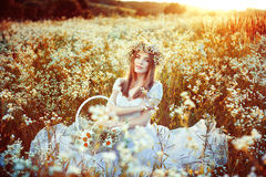 Dream at sunset in the field Stock Photography