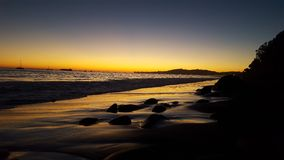 Dream of a sunset. Perfect sunset at the beach. Butterfly beach, Santa Barbara, California, USA Royalty Free Stock Photography