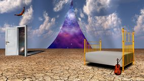 Dream. Surrealism. Bed and violin in arid land. Opened door to another world. Eagle in the sky. Universe behind curtains of sky. Some elements image credit NASA Royalty Free Stock Images