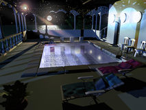 Dream swimming pool. A swimming pool, with deckchairs, shower, lights, the sea, the moon and stars on background Stock Photo