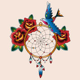 Dream tattoo. Traditional tattoo dream catcher with roses and bird Stock Photos
