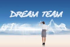 Dream team against energy design over landscape Stock Photo