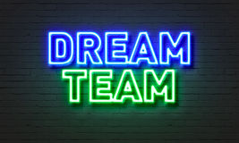 Dream Team Neon Sign On Brick Wall Background. Royalty Free Stock Image