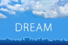 Dream text on cloud Royalty Free Stock Photography