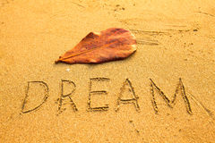 Dream - texture on the sand Royalty Free Stock Images