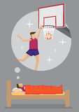 Dream to Be Professional Basketball Player Vector Cartoon. Young man dreaming of becoming a professional basketball player. Cartoon vector illustration on dream Stock Photos