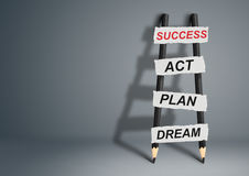 From dream to success concept, pencil Ladder with copy space Stock Photo