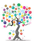 Dream tree. Cartoon tree on white background Stock Photography