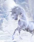 A Dream Of Unicorn. A dreamlike unicorn wades through the water! A fairytale fantasy scene Stock Photo