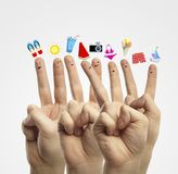 Dream of vacation. Happy group of finger smileys dream of vacation Stock Photography