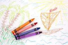 Dream about vacation. Children's drawing with color pencils Royalty Free Stock Photos