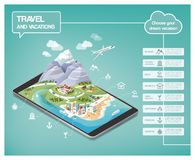 Dream vacations infographic. S, travel destinations types on a tridimensional landscape including mountains, seaside, cities and nature, icons set Royalty Free Stock Photography