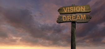 Dream - vision. Sign direction dream - vision made in 3d software Stock Image