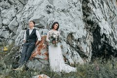 Dream wedding in mountains Stock Photo
