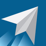 Dream. White paper airplane in blue sky background icon Royalty Free Stock Photo