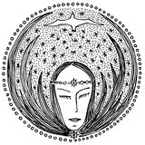 Dream of the woman. Woman's face and a bird against the star sky. Graphic drawing. A mandala Royalty Free Stock Image