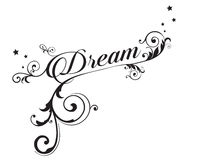 Dream. The word `Dream` with scrolls, swirls and stars royalty free illustration