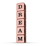 Dream Word Sign. Vertical Stack of Rose Gold Metallic Toy Blocks. 3D illustration isolated on white background Royalty Free Stock Images