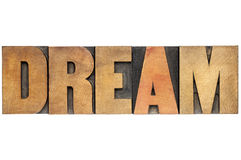 Dream word in wood type Stock Image