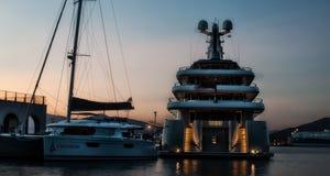 Maxi yacht in costa smeralda sardinia Royalty Free Stock Image