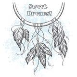 Dreamcatcher与羽毛的传染媒介例证 图库摄影