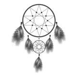 Dreamcatcher или мечт улавливатель с пер Иллюстрация талисмана коренного американца индийская изолированная на белой предпосылке Стоковое Фото