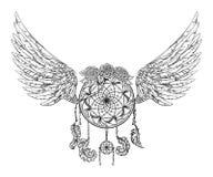 Dreamcatcher с орнаментом, розами и крылами Татуировка ART Картина иллюстрация вектора