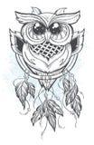 Διανυσματική απεικόνιση Dreamcatcher με τα φτερά κουκουβαγιών Στοκ Εικόνες