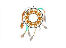 Dreamcatcher. Aboriginal first nations dream catcher secluded on white Royalty Free Stock Images