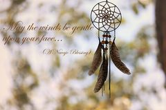 Navajo Blessing and Dreamcatcher stock image