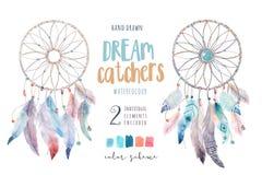 Dreamcatcher aislado del bohemio de la decoración de la acuarela Feath de Boho libre illustration