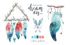 Dreamcatcher aislado del bohemio de la decoración de la acuarela Feath de Boho stock de ilustración