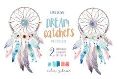 Dreamcatcher aislado del bohemio de la decoración de la acuarela Feath de Boho ilustración del vector