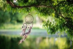 Dreamcatcher, amerikanisches gebürtiges Amulett im Waldmedizinmann Lizenzfreies Stockfoto