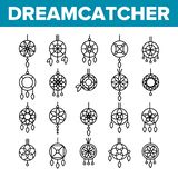 Dreamcatcher, amuletu wektoru Cienkie Kreskowe ikony Ustawiać royalty ilustracja