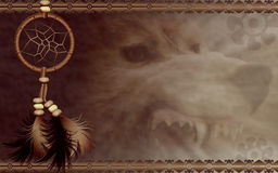 Dreamcatcher with angry wolf. Illustration of a Native American dreamcatcher with angry wolf Royalty Free Stock Images