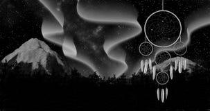 Dreamcatcher auf einer Illustration des Hintergrundes 3d des nächtlichen Himmels übertragen Lizenzfreies Stockbild