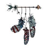 Dreamcatcher avec la flèche et les plumes ethniques illustration stock