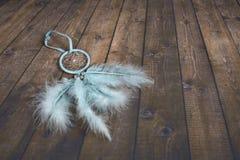 Dreamcatcher azul claro en fondo de madera oscuro foto de archivo libre de regalías