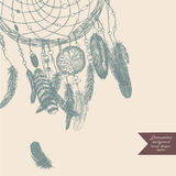 Dreamcatcher bakgrund illustratören för illustrationen för handen för borstekol gör teckningen tecknade som look pastell till tra Royaltyfria Foton