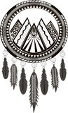 Dreamcatcher black and white and grey 5 colours vector illustration