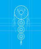 Dreamcatcher blue print Royalty Free Stock Photography