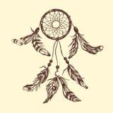 Dreamcatcher Boho stil stock illustrationer