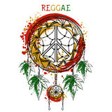 Dreamcatcher with cannabis leaves and peace symbol. Jamaica theme. Design concept in reggae colors for banner, card, t-shirt, bag, print, poster. Vector Royalty Free Illustration