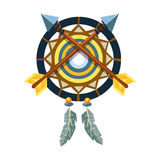 Dreamcatcher Charm With Crossed Arrows, Native American Indian Culture Symbol, Ethnic Object From North America Isolated Stock Photos