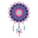 Dreamcatcher coloré de Lineless avec des plumes d'arc-en-ciel Photo stock