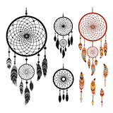 Dreamcatcher Colorful logo. Dreamcatcher and feather  on white background. Native american indian dreamcatcher. Colorful and black logo vector illustration Stock Photos