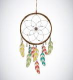 Dreamcatcher com penas e a linha perlada Asteca de Eethnic, dracma Imagem de Stock Royalty Free
