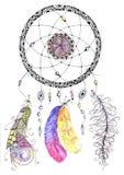 Dreamcatcher d'aquarelle avec des perles et des plumes Photo stock