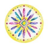 Dreamcatcher de mandala de plume dans les aquarelles Photo stock